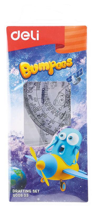 Набор линеек Deli EG00803 Bumpees пластик дл.15см прозрачный компл.:лин.15см./треуг.2шт./трансп. пла