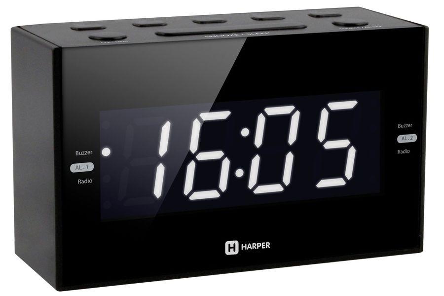 Радиобудильник HARPER HCLK-2041, белая подсветка,  черный