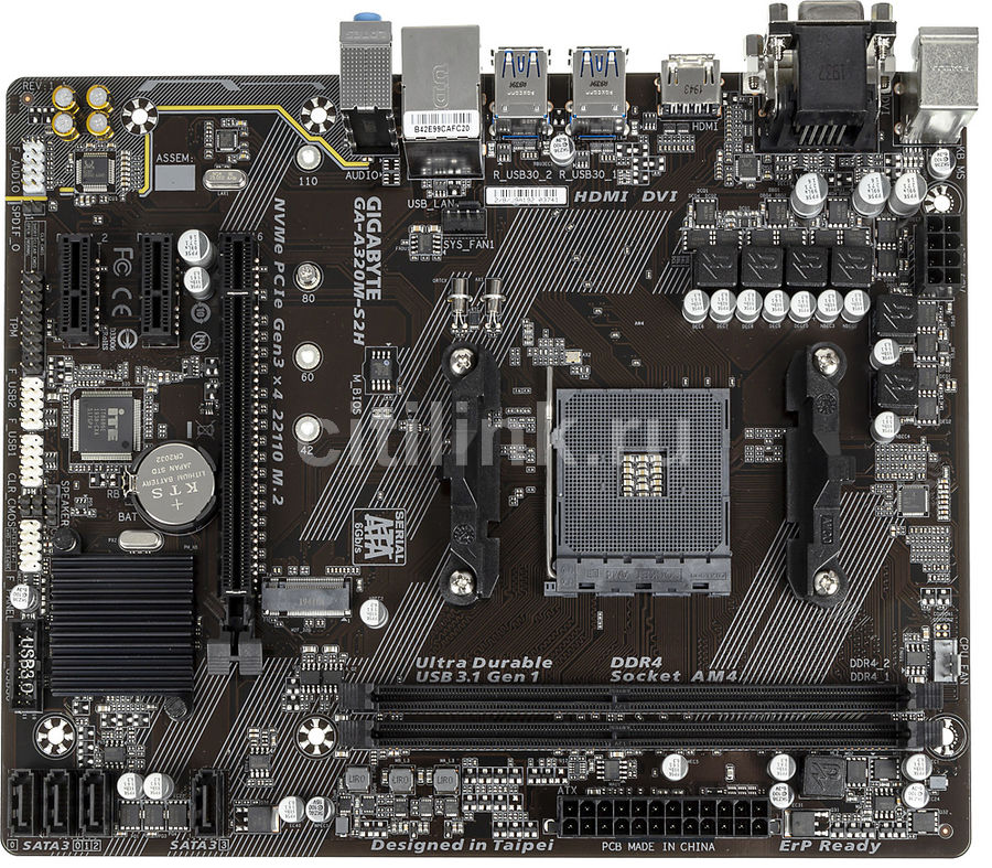 Материнская плата GIGABYTE GA-A320M-S2H, SocketAM4, AMD A320, mATX, Ret