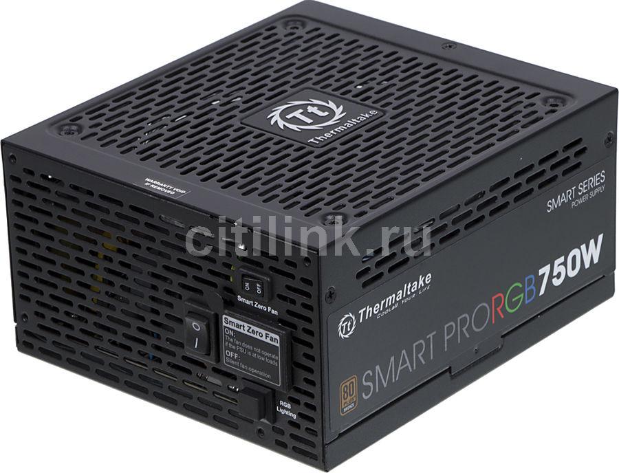 Блок питания THERMALTAKE SMART PRO RGB,  750Вт,  140мм,  черный, retail [ps-spr-0750fpcbeu-r]