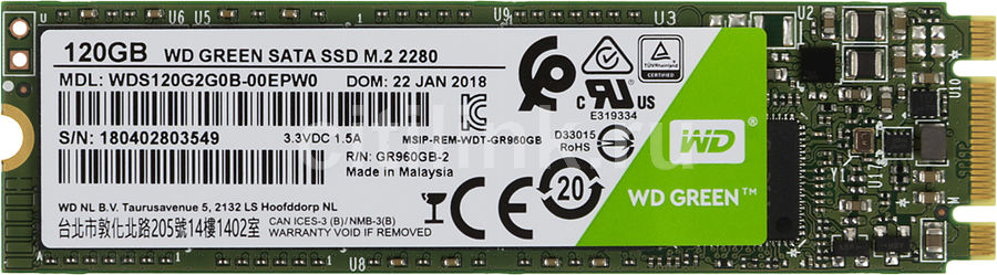 SSD накопитель WD Green WDS120G2G0B 120Гб, M.2 2280, SATA III