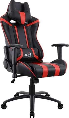 Кресло игровое AEROCOOL AC120 AIR-BR, на колесиках, ПВХ/полиуретан, черный/красный [516668]