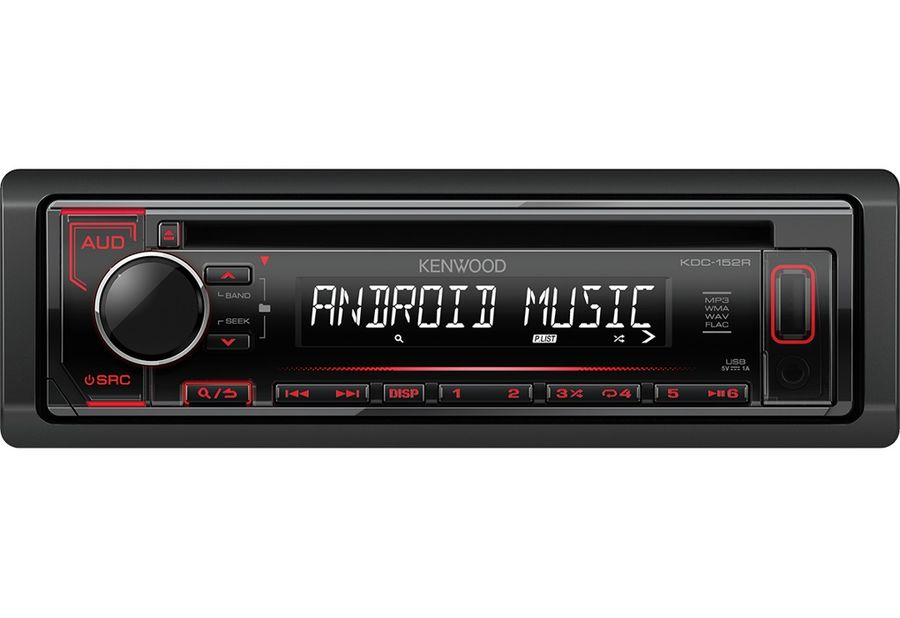 Автомагнитола KENWOOD KDC-152R, USB автомагнитола kenwood kdc 210ui usb mp3 cd fm 1din 4х50вт черный