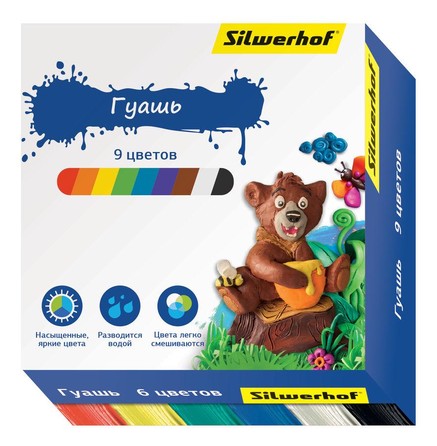 Гуашь Silwerhof 962082-09 Пластилиновая кол-ция 9цв. бан. 15мл. картон.кор.