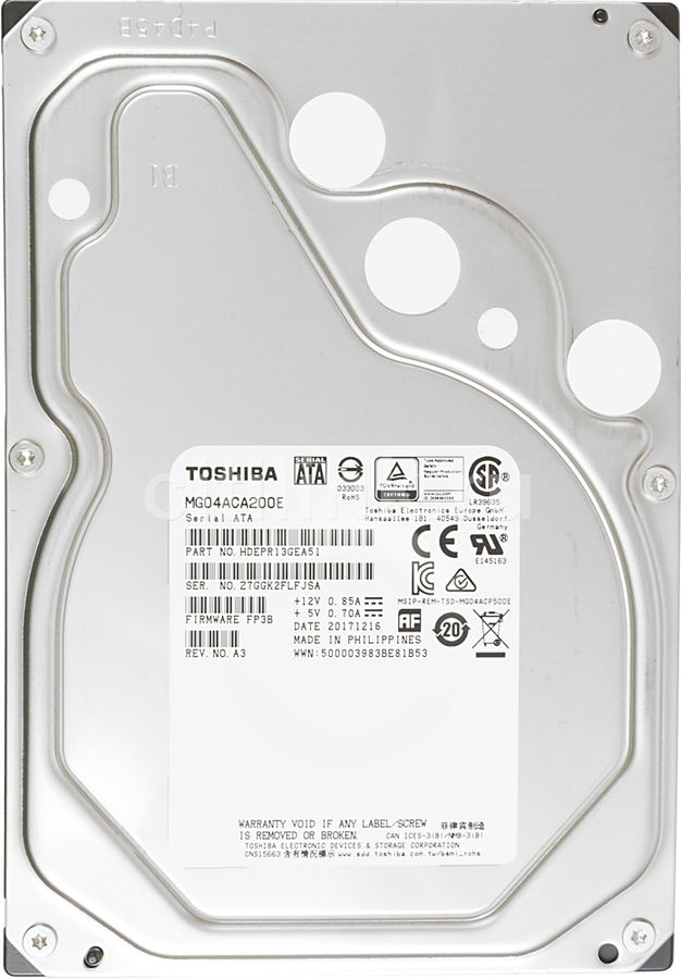 Жесткий диск TOSHIBA Enterprise Capacity MG04ACA200E, 2Тб, HDD, SATA III, 3.5 жесткий диск 5tb seagate enterprise capacity 3 5 hdd st5000nm0024