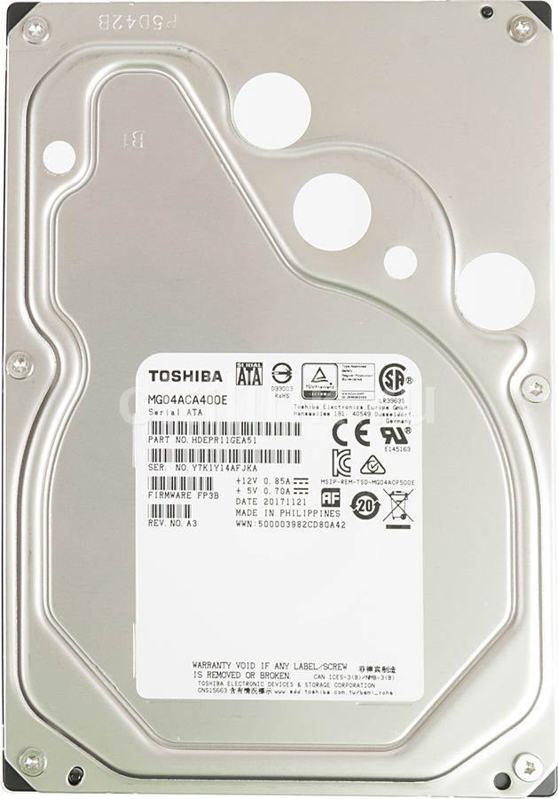 Жесткий диск TOSHIBA Enterprise Capacity MG04ACA400E, 4Тб, HDD, SATA III, 3.5 жесткий диск 5tb seagate enterprise capacity 3 5 hdd st5000nm0024