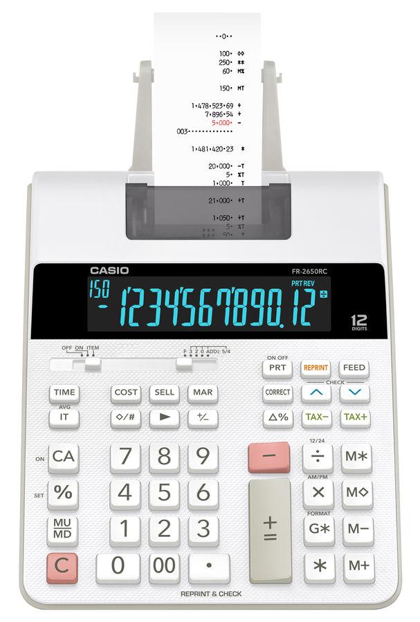 Калькулятор CASIO FR-2650RC-W-EC,  12-разрядный, серый