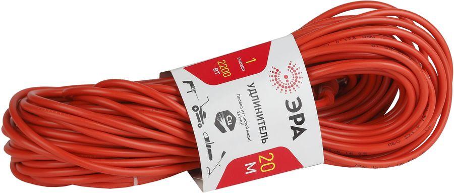 Удлинитель силовой Эра UP-1-2x1.0-20m (Б0017613) 2x1.0кв.мм 1розет. 20м ПВС 10A без катушки оранжевы