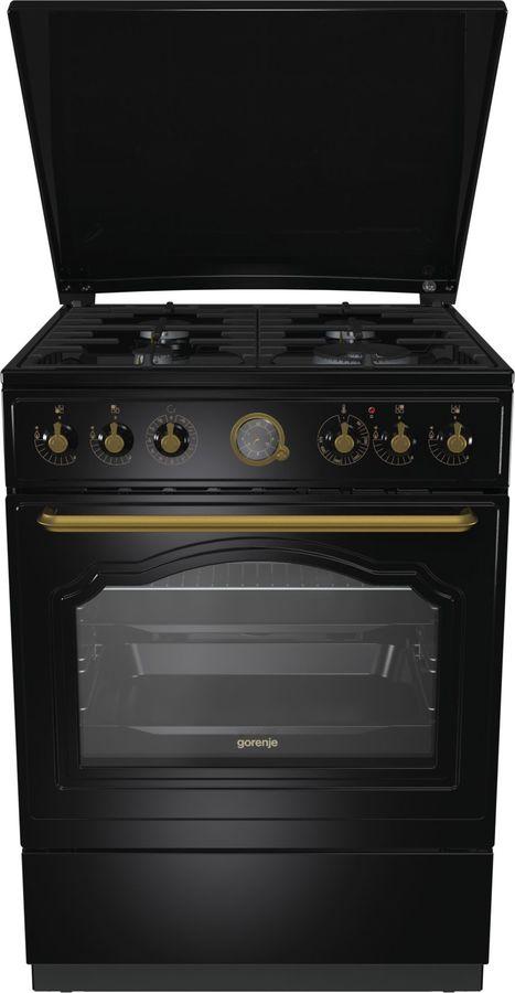 Газовая плита GORENJE K62CLB,  электрическая духовка,  антрацит