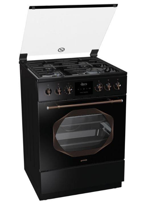 Газовая плита GORENJE K63INB,  электрическая духовка,  черный