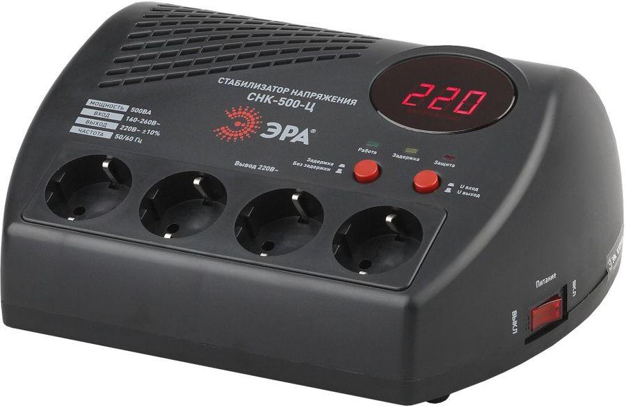 Стабилизатор напряжения ЭРА СНК-500-Ц,  черный [б0031071]