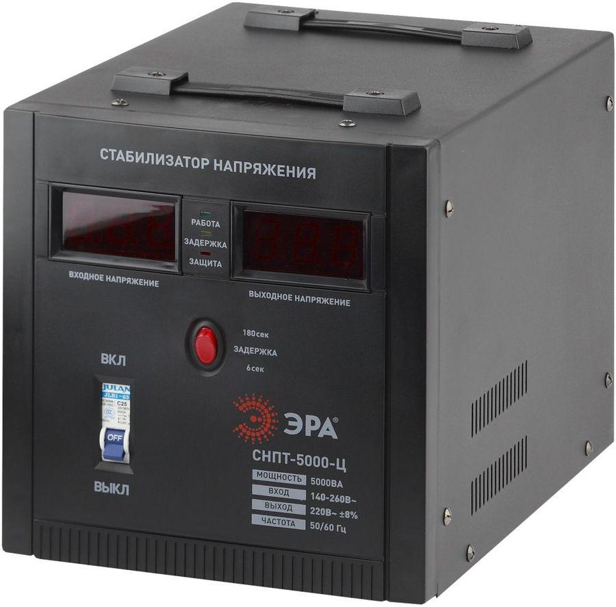 Стабилизатор напряжения ЭРА СНПТ-5000-Ц,  черный [б0020162]