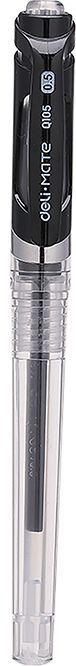 Ручка гелевая Deli EQ10520 0.5мм резиновая манжета черные чернила прозрачный