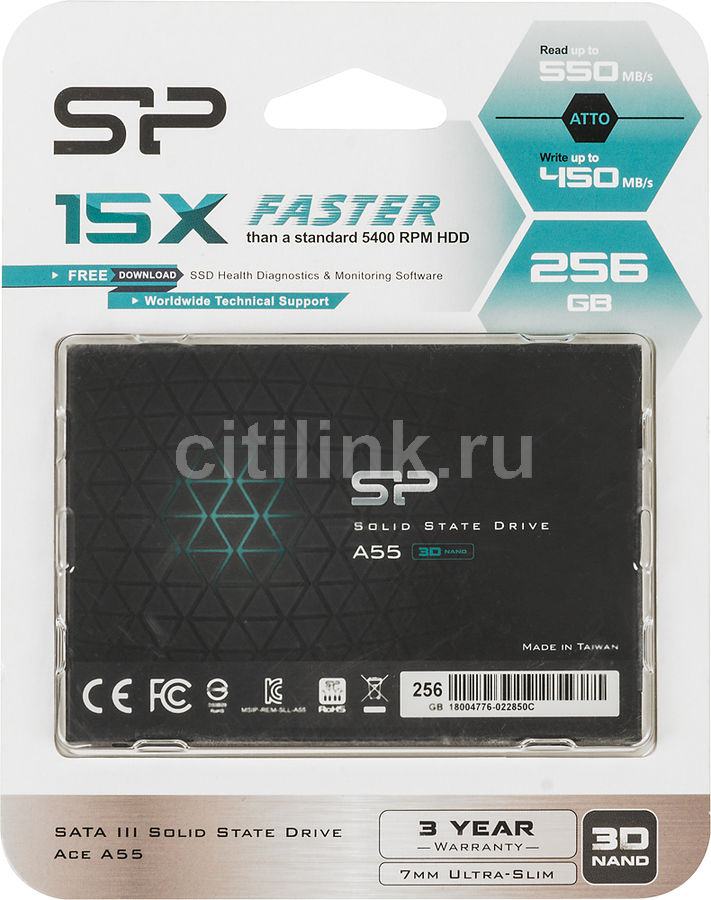 "SSD накопитель SILICON POWER Ace A55 SP256GBSS3A55S25 256Гб, 2.5"", SATA III"