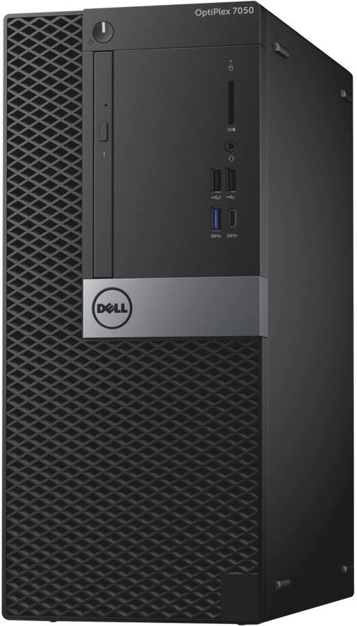 Компьютер DELL Optiplex 7050, Intel Core i7 6700, DDR4 8Гб, 1000Гб, Intel HD Graphics 530, DVD-RW, Windows 10 Professional, черный и серебристый [7050-1818] настольный компьютер dell optiplex 5050 mt black silver 5050 8299 intel core i7 7700 3 6 ghz 8192mb 1000gb dvd rw intel hd graphics ethernet windows 10 pro 64 bit