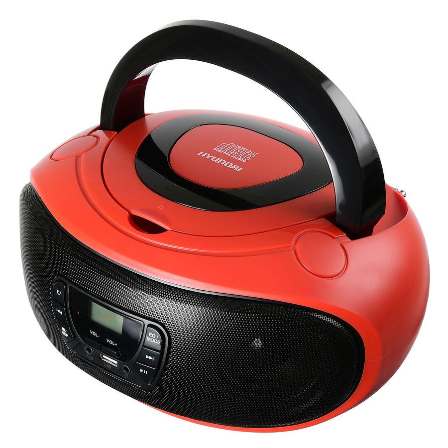 Аудиомагнитола HYUNDAI H-PCD280,  красный и черный