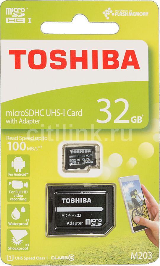 Карта памяти microSDHC UHS-I U1 TOSHIBA M203 32 ГБ, 100 МБ/с, Class 10, THN-M203K0320EA,  1 шт., переходник SD