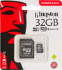 Карта памяти microSDHC UHS-I U1 KINGSTON Canvas Select 32 ГБ, 80 МБ/с, Class 10, SDCS/32GB,  1 шт., переходник SD вид 1