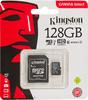 Карта памяти microSDXC UHS-I U1 KINGSTON Canvas Select 128 ГБ, 80 МБ/с, Class 10, SDCS/128GB,  1 шт., переходник SD вид 1