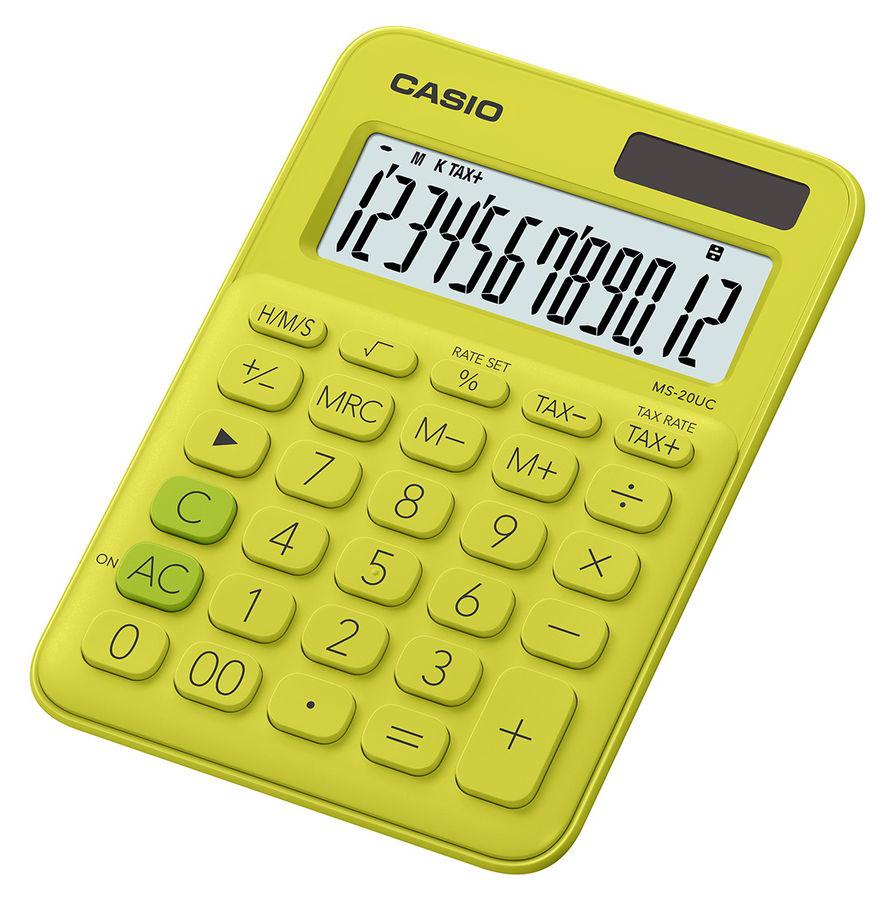 Калькулятор CASIO MS-20UC-YG-S-EC,  12-разрядный, желтый