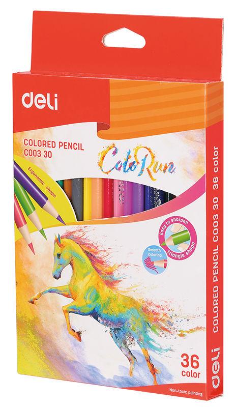 Карандаши цветные Deli ColoRun EC00330 тополь 36цв. коробка/европод.