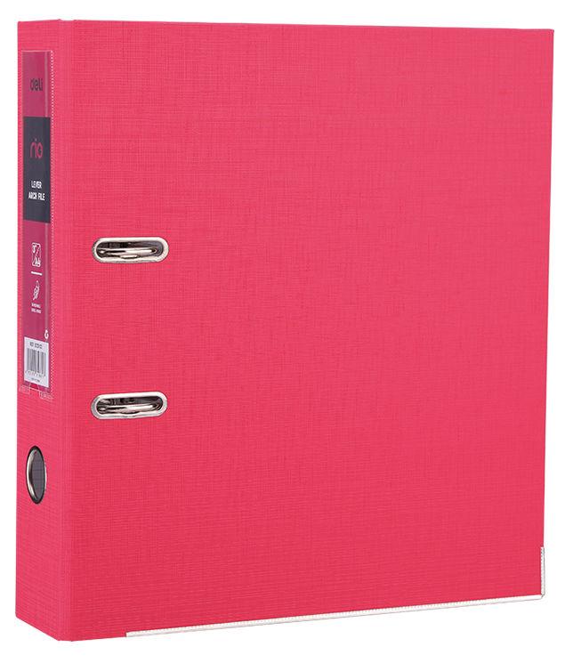 Папка-регистратор Deli EB20140 A4 75мм полипропилен/бумага красный разборная смен.карм. на кор.