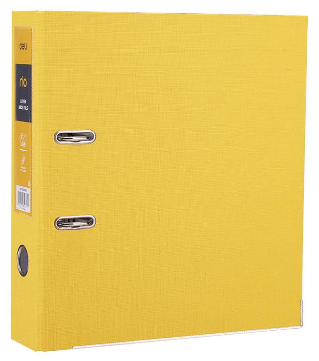 Папка-регистратор Deli EB20150 A4 75мм полипропилен/бумага желтый разборная смен.карм. на кор.
