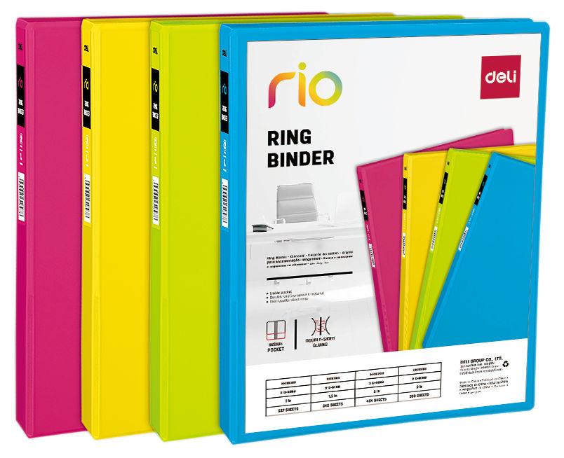 Папка на 2-х D-кольцах Deli Rio EB10100 A4 пластик кор.62мм ассорти