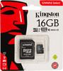 Карта памяти microSDHC UHS-I U1 KINGSTON Canvas Select 16 ГБ, 80 МБ/с, Class 10, SDCS/16GB,  1 шт., переходник SD вид 1