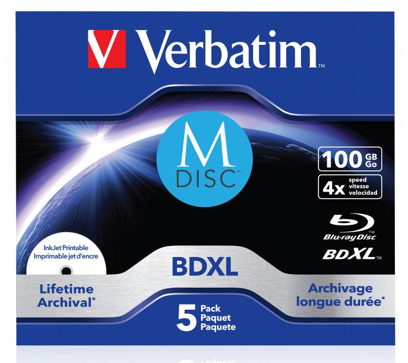 Оптический диск BD-R XL VERBATIM 100Гб 4x, 5шт., M-Disc, paper box [43834]