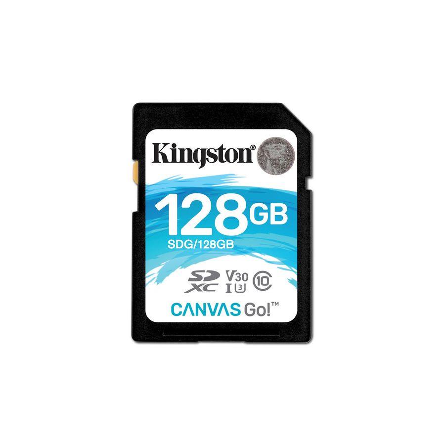 Карта памяти SDXC UHS-I KINGSTON Canvas Go 128 ГБ, 90 МБ/с, Class 10, SDG/128GB,  1 шт.