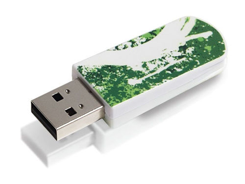 Флешка USB VERBATIM Mini Graffiti Edition 16Гб, USB2.0, зеленый и рисунок [49413]