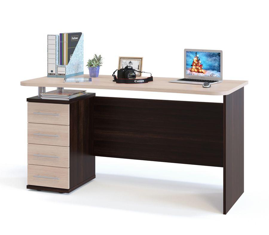 Стол компьютерный  СОКОЛ КСТ-105.1,  ЛДСП,  венге и белый дуб