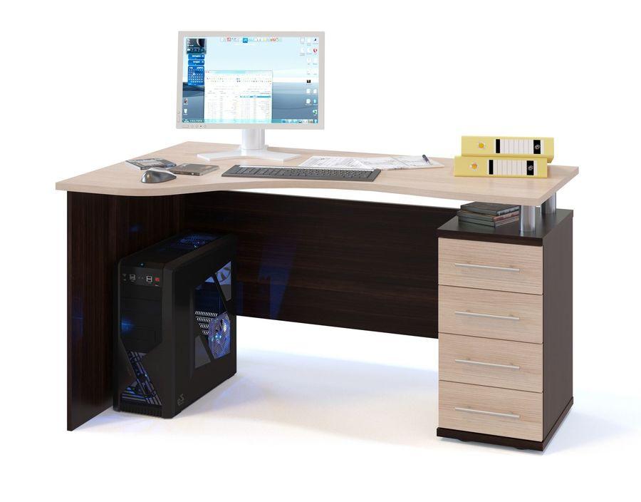 Стол компьютерный  СОКОЛ КСТ-104.1ПРАВЫЙ УГЛОВОЙ,  угловой,  ЛДСП,  венге и дуб беленый