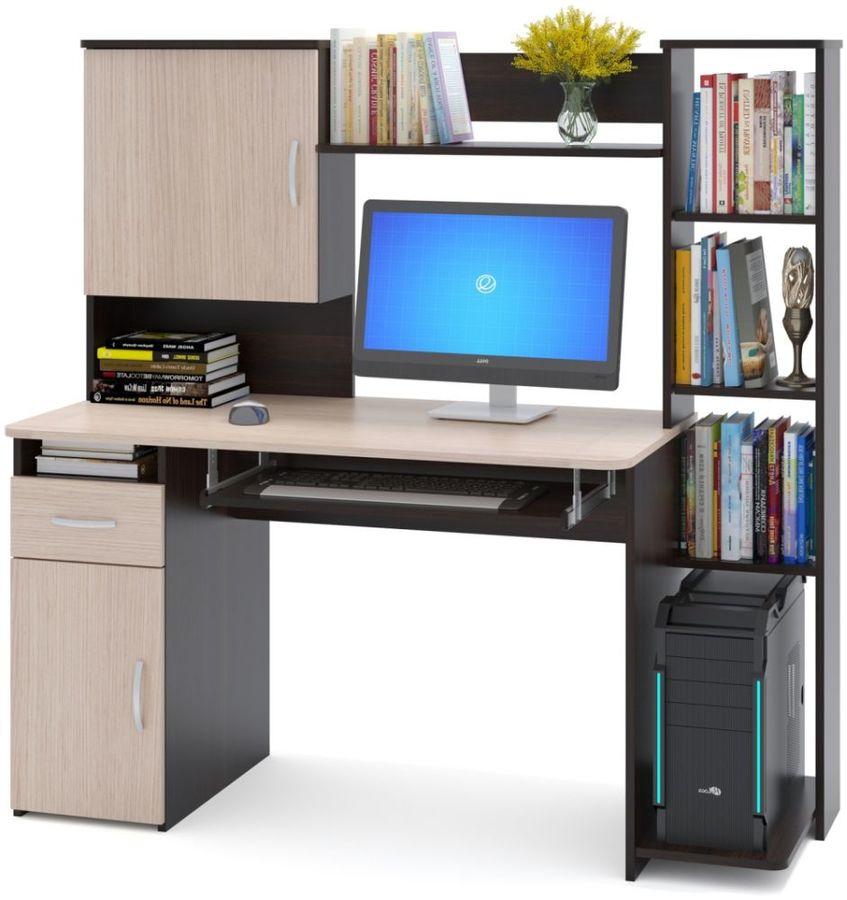 Стол компьютерный  СОКОЛ КСТ11.1Вкб,  ЛДСП,  венге и дуб беленый