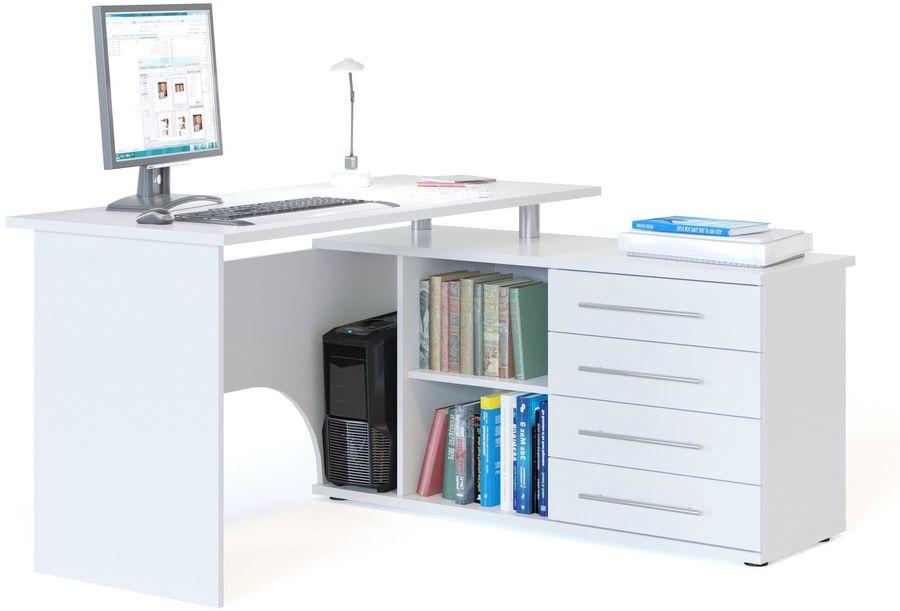 Стол компьютерный  СОКОЛ КСТ-109ПРАВЫЙ УГЛОВОЙ,  угловой,  ЛДСП,  белый