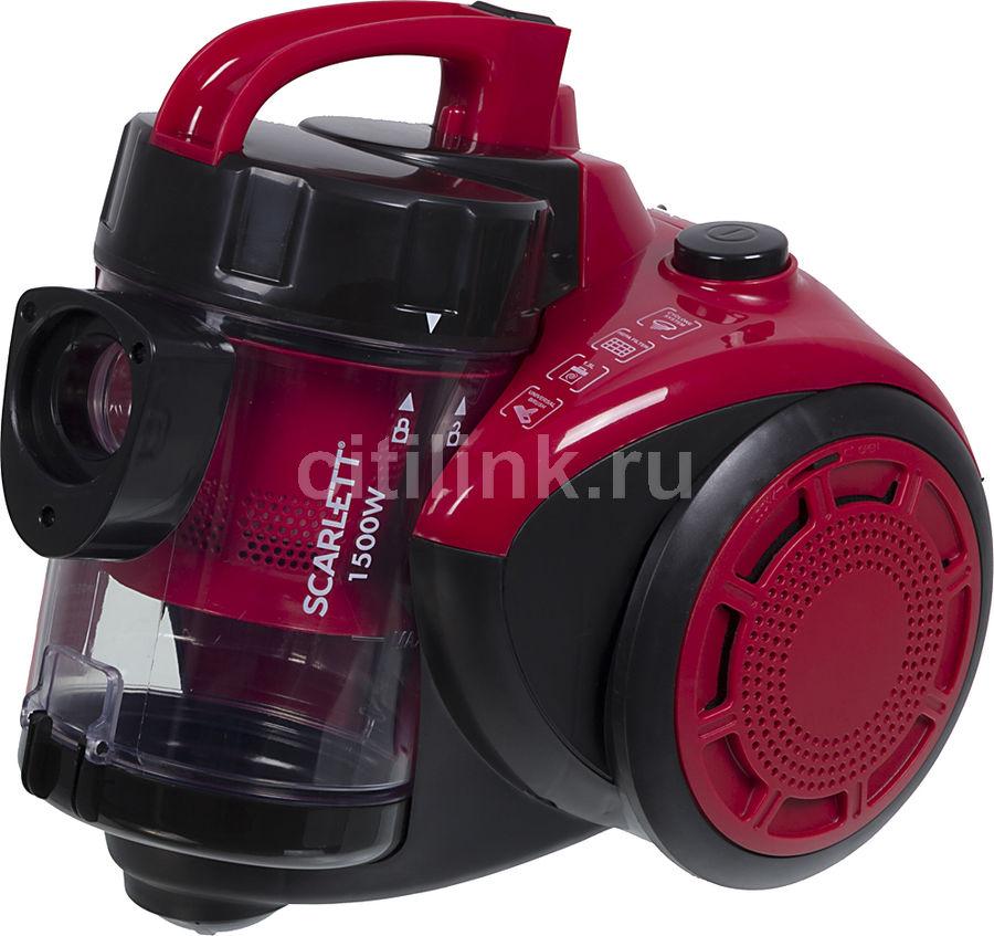 Пылесос SCARLETT SC-VC80C11, 1500Вт, красный/черный