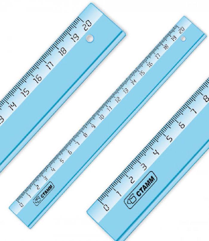 Линейка Стамм Cristal ЛН1100 пластик дл.20см голубой/прозрачный