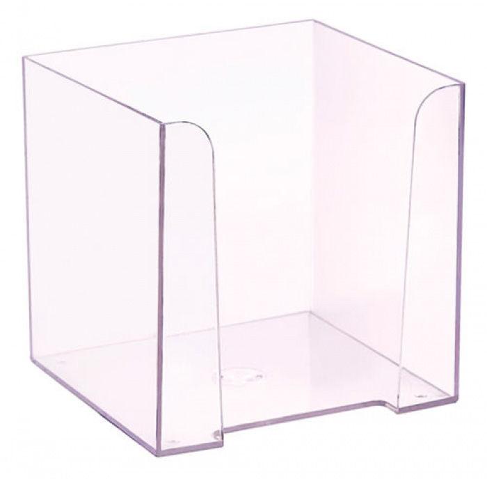 Подставка Стамм ПЛ41 для бумажного блока 90x90x90мм прозрачный пластик