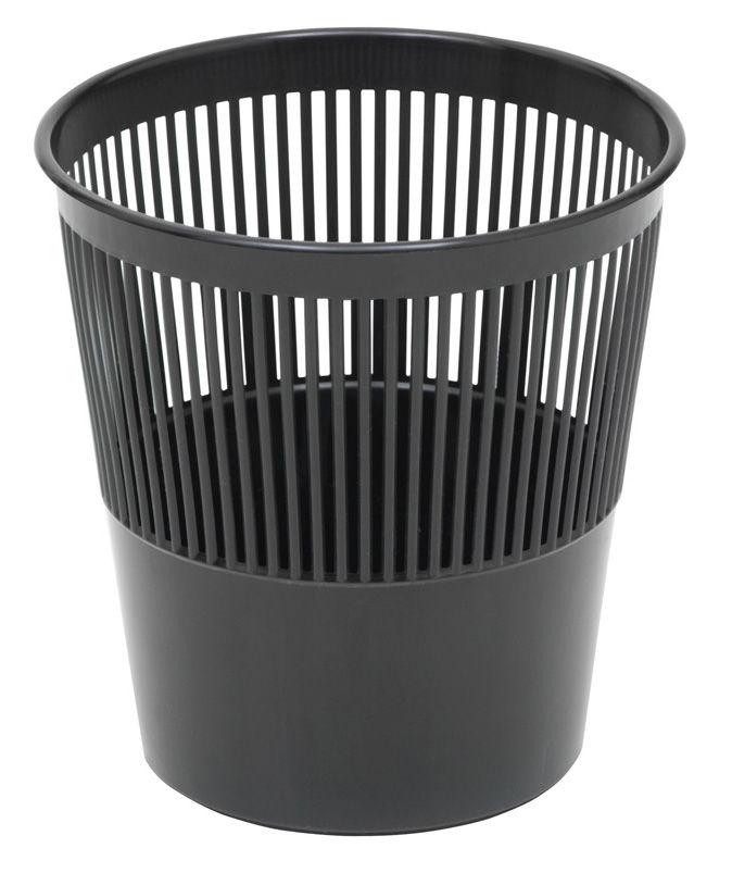 Корзина для бумаг СТАММ 9л, пластик, круглая, черный [кр21]