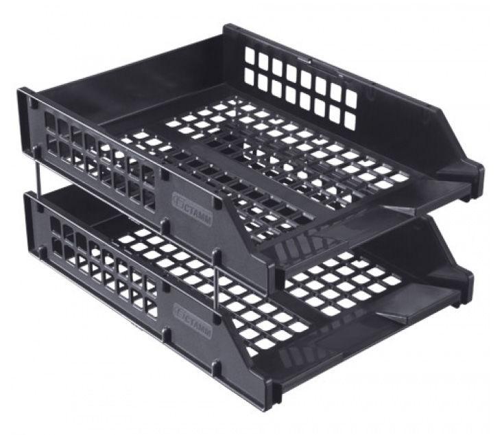 Набор лотков горизонтальный Стамм ЛТ102 Strong 158x340x260мм черный пластик
