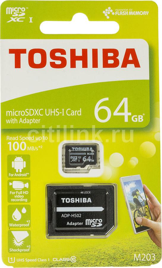 Карта памяти microSDXC UHS-I TOSHIBA M203 64 ГБ, 100 МБ/с, Class 10, THN-M203K0640EA,  1 шт., переходник SD