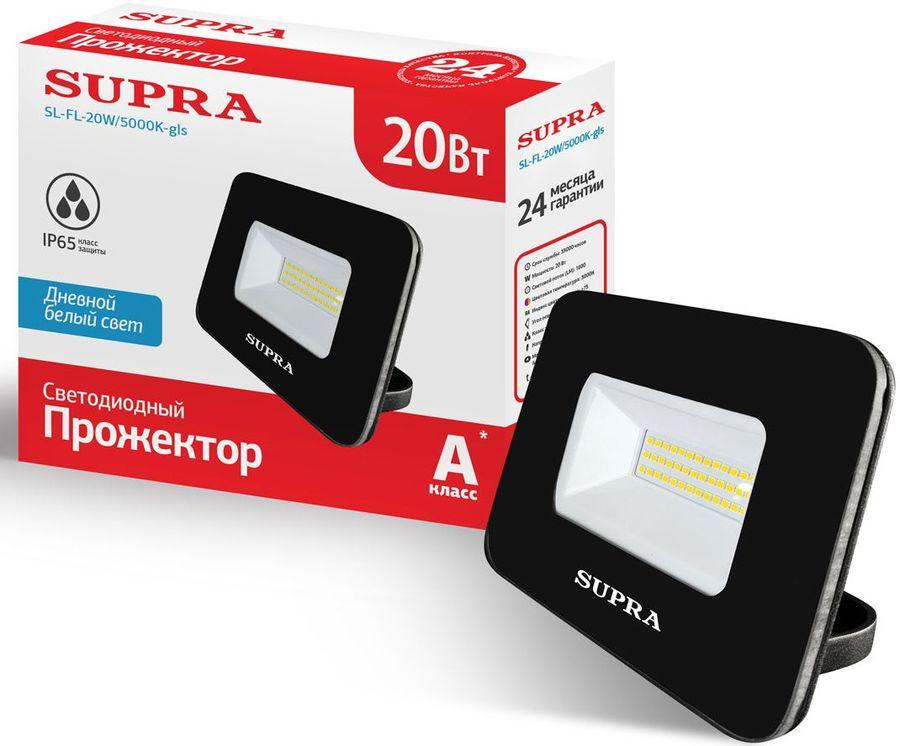 Прожектор уличный SUPRA SL-FL-20W/5000K-gls, 20Вт [11485]