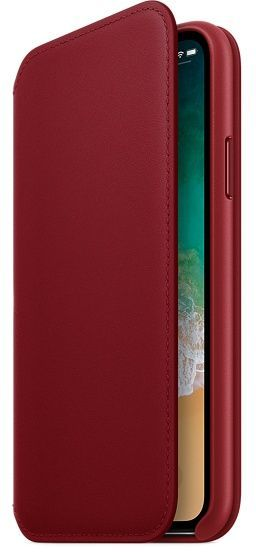 Чехол (флип-кейс) APPLE Leather Folio, для Apple iPhone X, красный [mrqd2zm/a]
