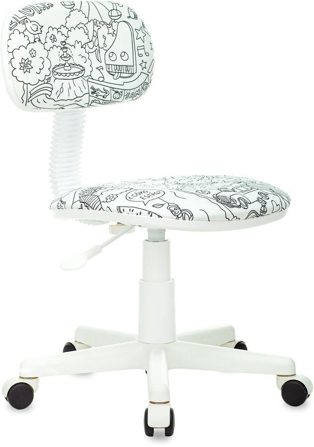 Кресло детское БЮРОКРАТ CH-W201NX, на колесиках, ткань, белый [ch-w201nx/ps]