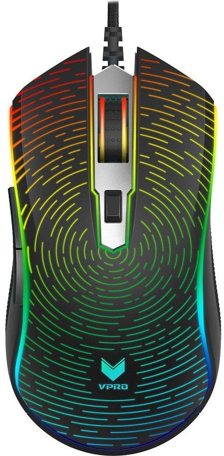 Мышь RAPOO V25S, игровая, оптическая, проводная, USB, черный
