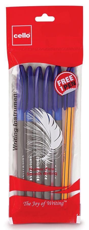 Набор шариковых ручек Cello Office Grip 0.7мм :5 ручек синие чернила +Liner в подарок