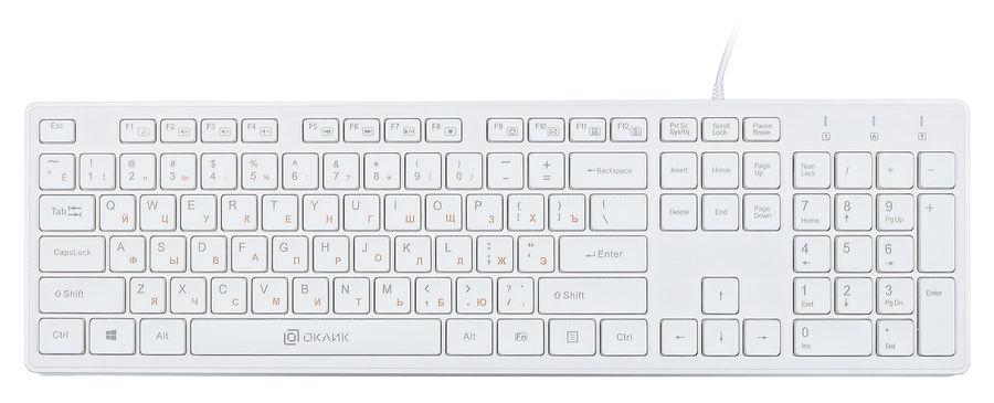 Клавиатура OKLICK 500M,  USB, белый