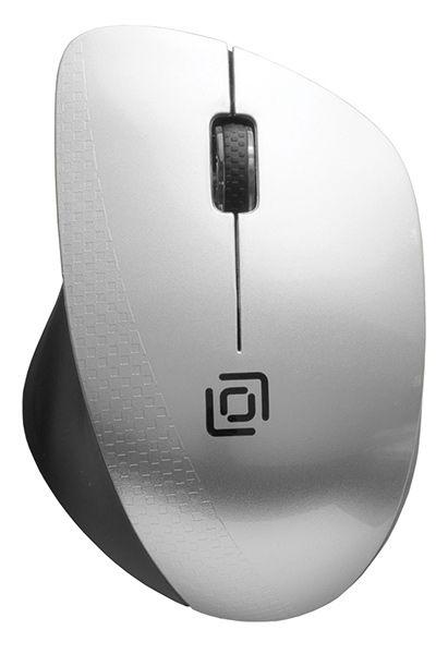 Мышь OKLICK 695MW, оптическая, беспроводная, USB, черный и серебристый