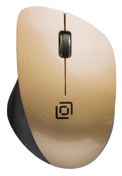 Мышь OKLICK 695MW, оптическая, беспроводная, USB, черный и золотистый